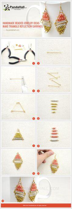 Handmade Beaded Jewelry Ideas - Make Triangle Reflection Earrings from pandahall.com