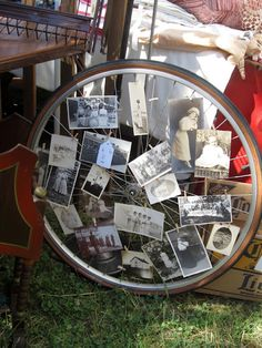 Bicycle wheel photo holder!  PERFECT for Ethan's room!!