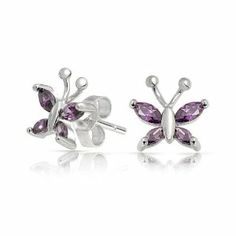 Amethyst Color CZ Childrens Butterfly Sterling Silver Stud Earrings Bling Jewelry. $19.99. .925 Sterling Silver, rhodium plating. Childrens butterfly stud earrings. Total weight is 1.1 grams. Large marquise amethyst cubic zirconia 3x2mm, small is 2x1mm. Earrings are .3 x .3in. Save 52% Off!