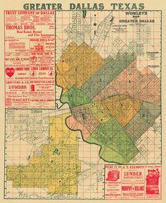 Vintage map  Antique map of Dallas   Print  28 x by AncientShades, $43.00
