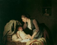 Young mother her child laying in a bassinet, 1880, Johann Georg Meyer von Bremen. Germany (1813 - 1886)