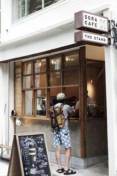 Kaffeeecke (via: Sora Cafe) - Small Coffee Shop, Coffee Store, Coffee Cafe, Coffee To Go, Coffee Shop Japan, Coffee Break, Coffee Drinks, Cafe Shop Design, Cafe Interior Design