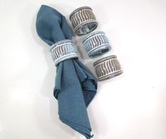 Terracotta Napkin Rings Set of 4 brown and white by ReneesRetro
