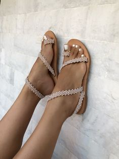 Pearls Leather Sandals Wedding Sandals Wedding Shoes Bridal Sandals Greek Sandals Made from Genuine Leather Cute Shoes, Me Too Shoes, Bridal Sandals, Studded Heels, Designer Sandals, Greek Sandals, Gladiator Sandals, Wedding Shoes, Boho Wedding