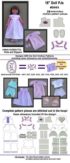 "another great nightgown pattern, nicely finished 18"" Doll Clothes"