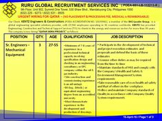 """URGENT HIRING FOR QATAR  – (NO PLACEMENT & PROCESSING FEE, MEDICAL is REIMBURSABLE) Our Client, KENTZ Engineers & Constructors is now hiring """"QATAR SIDRA PROJECT,"""" as follows:   Sr. Engineers – Mechanical Equipment 27-55  Minimum of 7-8 years of experience  involving specification design and checking in an engineering consultancy or EPC company within the oil & gas industry  BS Eng. (Mech.) or equivalent engineering degree from an accredited university"""