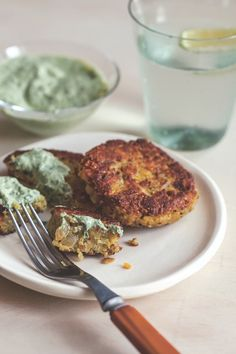 red lentil & quinoa cakes with basil cream from MindBodyGreen