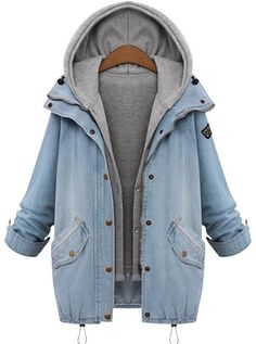 Wow, love this  Denim Two-piece Coat.Only $59.99 & Free Shipping! It features front botton & hooder design.So cute ! It will be your favourite outfit in winter, More amazing pieces at Romoti.com