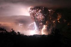 Two of nature's most spectacular forces produced an incredible brew in the skies of Chile as a volcanic eruption met a lightning storm