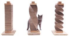 DIY cat scratcher made from cardboard. Really easy way to make a scratcher with a variety of looks. Should also work with sisal-cover only with less flexibility.