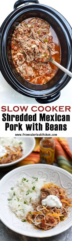 This Slow Cooker Shredded Mexican Pork with Beans is lean, flavorful, and versatile! Serve it over rice or rolled into tortillas for an easy, satisfying meal. Top with the works for a yummy hearty Mexican bowl Best Slow Cooker, Crock Pot Slow Cooker, Crock Pot Cooking, Slow Cooker Recipes, Crockpot Recipes, Cooking Recipes, Slower Cooker, Crockpot Dishes, Pork Dishes