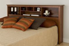 NEW Monterey Cherry King Storage Headboard Bedroom Furniture Shelves Storage