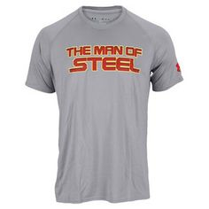 You know there's at least one person on your shopping list who would love this...or maybe it's you? The Under Armour Men's Alter Ego Man of Steel Tee Steel Gray! This loose fitting tee has a comfortable fit that makes it perfect for wearing any place. Enhanced range of motion and UA Tech fabric makes this shirt comfy and keeps you cool as you take on the world.
