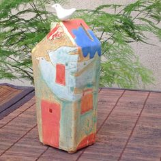 Tall House Bank with Birds by margaretwozniak on Etsy