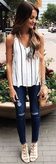 #spring #outfits White Striped Tank + Navy Ripped Skinny Jeans