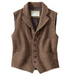 Lightweight Highland Tweed Casual Vest - Dark Brown