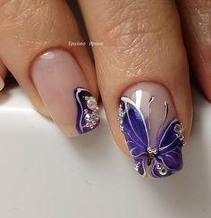 # Purple Butterfly Nails Butterfly Nail, Purple Butterfly, Metallic Nail Polish, Toe Polish, Diva Nails, Nails Inspiration, Beauty Nails, Hair And Nails, Nail Art Designs