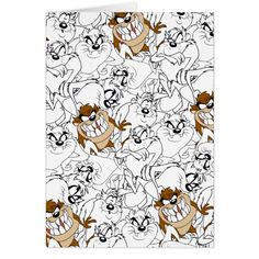 TAZ Line Art Color Pop Pattern - How about that Tasmanian Devil? Tasmanian Devil Cartoon, Red Chinese Dragon, Clever Tattoos, Cartoon Pics, Custom Greeting Cards, Looney Tunes, Paper Texture, Line Art, Character Art