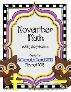 November Math:  Solving Story Problems