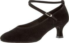 Mod. 075 Damen Tanzschuhe Made in Germany Weite E½ Normalweite Latino Absatz 5 cm schwarz Velourleder
