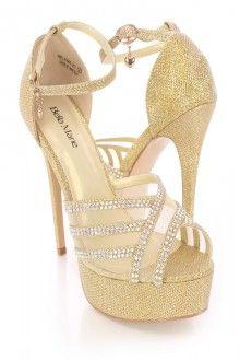 Gold Rhinestone High Heels Tinsel Shimmer Fabric