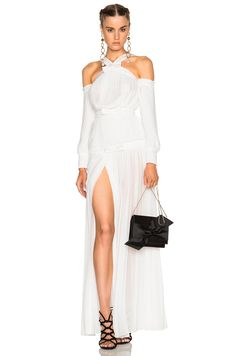 Image 1 of Alessandra Rich Silk Plisse Dress with Bows em Branco