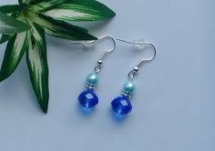 Czech Fire Polished and Glass Pearl Beaded Drop Earrings