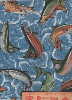 "Fish Fishing Trout Bass Blue Water Ocean scrap bolt end Fabric 10"" by 44"""