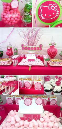 Hello Kitty Birthday Ideas Via Babble 25 unique kids Birthday Themes Lila Party, Festa Party, Cat Party, Chat Hello Kitty, Hello Kitty Themes, Kids Birthday Themes, Birthday Parties, Birthday Table, Girl Birthday