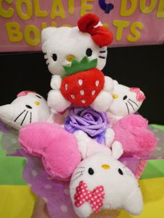 Hello Kitty plush doll with pink heart cushions. *** Pink and purple theme birthday gift!