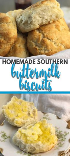 Homemade Buttermilk Biscuits rise up flaky, soft, and so buttery every time. This recipe gives you easy step-by-step instructions to make the best biscuits with no rolling and no cutting required! #biscuits #buttermilkbiscuits #southernfood
