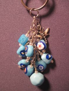 Blue Glass Bead Mini Purse Charm / Key Chain by FoxyFundanglesByCori, $5.00