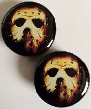 Jason Voorhees / Friday the 13th Plugs (Available in sizes 6-25 mm) #jasonvoorhees #slasher #movie #crystallake #jason #camp #mask #fridaythe13th #halloween #horror #plugs #gauges #bodyjewelry #ear #lobe #stretching #modification #ebay #emo #scene #goth #hipster #campcrystallake #shopify #stretchedears #stretchedlobes #bodymodification #stretchers #ebay