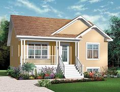 Build your ideal home with this Country house plan with 2 bedrooms(s), 1 bathroom(s), 1 story, and 911 total square feet from Eplans exclusive assortment of house plans. Bungalow Style House, Bungalow House Plans, Small House Plans, House Floor Plans, Family House Plans, Country Style House Plans, Country Homes, Country Kitchen, House Design Photos