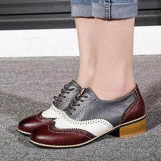 Fashion Womens Chic Leather Lace Up Oxford Dress Chunky Block Heels Brogue Shoes