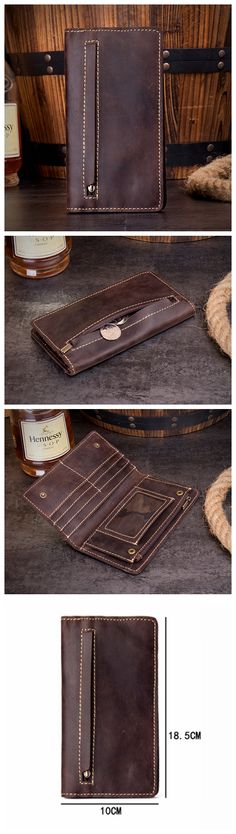 Leather Long Wallet, Awesome Gift, Men Handmade Wallet MS085
