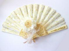 Handfächer - Handfächer,Fächer,ivory,gold,Spitze mit Blüte - ein Designerstück…