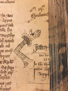 -A certain Jeffrey left his mark-and his sleeve- in 1561.  BL Harley 1900 (early 15thc)  Некий Джеффри оставил свой след - и его рукав - в 1561.  BL Harley 1900 (начало 15-го века)