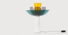 Lab Table Lamp, Teal, Deep Grey and Mustard