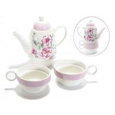 Set teiera con 2 tazze tazzine tè porcellana shabby fiori rosa