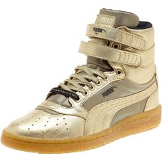Puma Sky II Metallic Hi Women's Sneakers ($90) ❤ liked on Polyvore featuring shoes, sneakers, metallic gold, velcro sneakers, cat footwear, grip trainer, lace up shoes and puma sneakers
