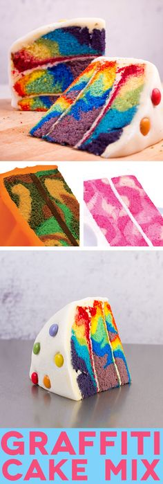 Amazing mix that makes tie dye, camouflage and pink camouflage cakes!