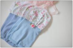 Newborn Baby Girl Upcycled Romper Photography Prop by KingsCloth