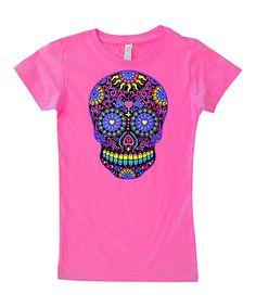 Hot Pink & Black Neon Skull Fitted Tee - Infant Toddler & Girls
