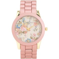 Aeropostale Floral Metal Boyfriend Watch featuring polyvore, fashion, jewelry, watches, accessories, bracelets, oxford pink, floral watches, analog wrist watch, metal watches, flower jewelry and pink dial watches