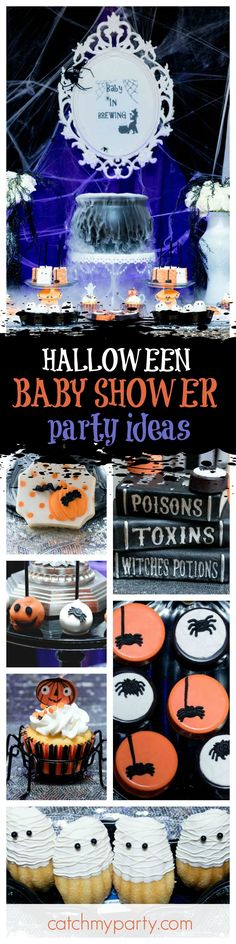 There's a Baby Brewing at this fun Halloween baby Shower. The dessert table is fantastic!! See more party ideas and share yours at CatchMyParty.com