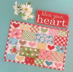 Sweetie Pie Sew Along - Cherry Hearts Placemat Tutorial!! | Bee In My Bonnet | Bloglovin'