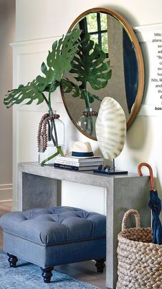 Home decorating ideas – Console table styling at entry. Skinny silver table wit… Home decorating ideas – Console table styling at entry. Skinny silver table with tufted ottoman, round mirror and woven umbrella basket. Simple, classy and functional. Design Entrée, House Design, Design Trends, Design Ideas, Console Table Styling, Console Tables, Entry Tables, Modern Entry Table, Entrance Table