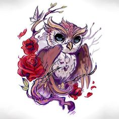 Exquisite inspiring owl with beautiful roses and cute tiny butterfly. Tags: Cute, Beautiful, Awesome