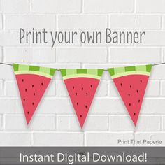 Summer Birthday Banner Watermelon Party by PrintThatPaperie Watermelon Birthday Parties, Summer Birthday, Fruit Party, 1st Birthday Parties, Birthday Cards, Party Summer, Watermelon Images, Watermelon Fruit, Watermelon Ideas